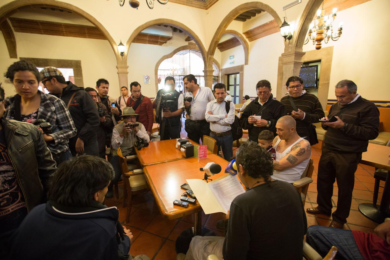 """Conférence de presse quelques jours avant le départ de la caravane """"Un Grito de Existencia"""".                                         San Luis Potosi, SLP, Mexique"""