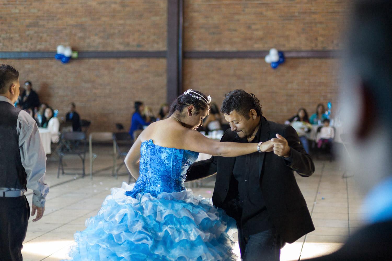 El Mijis dances with his daughter Fany for her 15th birthday party.San Luis Potosi, SLP, Mexico - 12/12/2015.El Mijis danse avec sa fille Fany pour la célébration de ses 15 ans.San Luis Potosi, SLP, Mexique - 12/12/2015.