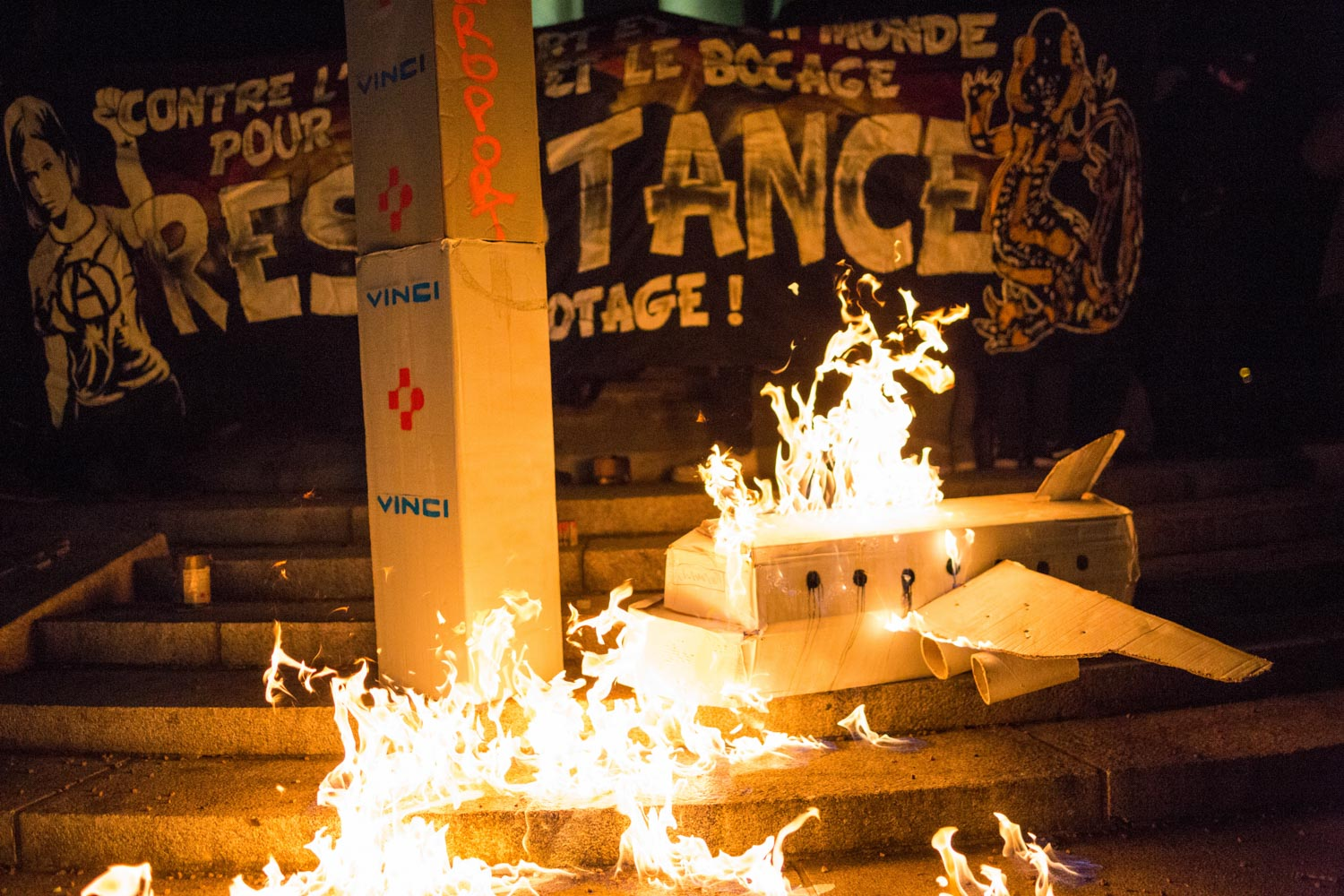 Demonstration to celebrate the abandonment of the 50 years old airport project of Notre-Dame-des-Landes, near Nantes in France, and say no to expulsions after the Prime Minister Edouard Philippe announced it during the day.