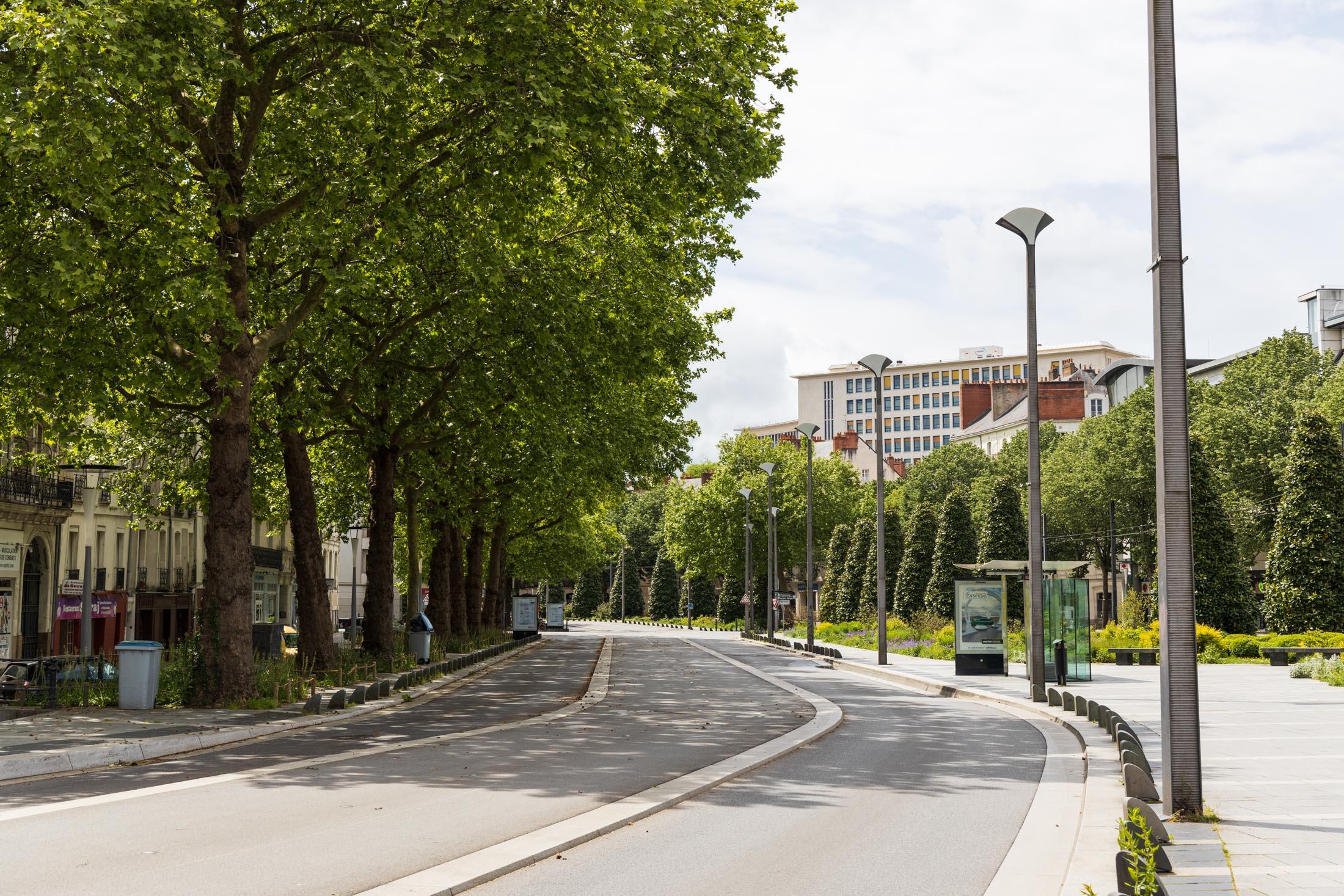 Cours des 50 otages in Nantes is empty. Nantes, France - May 1st 2020.Le cours des 50 otages est vide. Nantes, France - 1er Mai 2020.